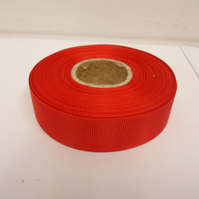 2 metres of 22mm Poppy Bright Red Grosgrain Ribbon, ribbed double sided