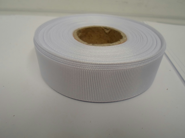 2 metres of 22mm White Grosgrain Ribbon, ribbed double sided