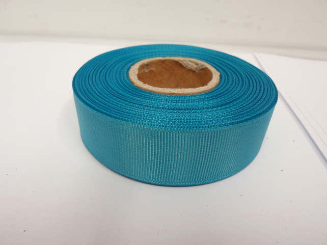 2 metres of 22mm Dark Turquoise Blue Grosgrain Ribbon, ribbed double sided