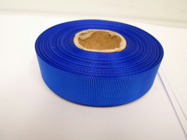 2 metres of 22mm Royal, Cobalt Dark Blue Grosgrain Ribbon, ribbed double sided