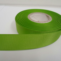 2 metres of 22mm Leaf Bright Green Grosgrain Ribbon, ribbed double sided