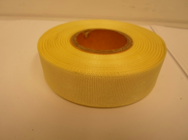 2 metres of 22mm Canary Bright Yellow Grosgrain Ribbon, ribbed double sided