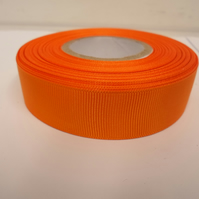 2 metres of 22mm Light Orange Grosgrain Ribbon, ribbed double sided