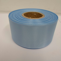 2 metres of 38mm Light Baby Blue Grosgrain Ribbon, ribbed, double sided
