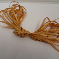 1 roll of 3mm satin ribbon x 50 metres, Caramel, Light Gold, double sided
