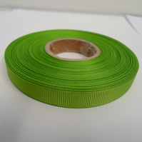 2 metres of 10mm Leaf Bright Green, Grosgrain Ribbon, Double Sided Ribbed