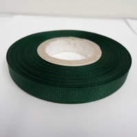 2 metres of 10mm Forest Dark Green, Grosgrain Ribbon, Double Sided Ribbed