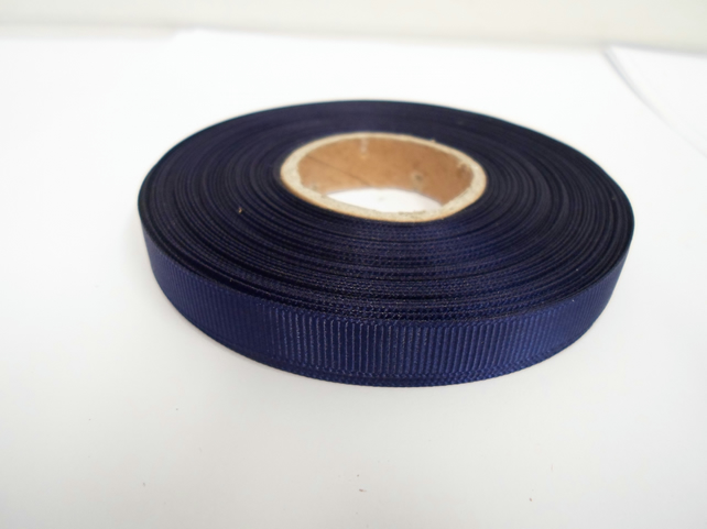 2 metres of 10mm Navy Dark Blue, Grosgrain Ribbon, Double Sided Ribbed