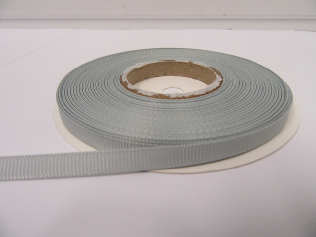 2 metres of 10mm Silver, Light Grey Grosgrain Ribbon, Double Sided Ribbed