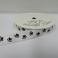 1 roll of 15mm White with Black Paw Prints Satin Ribbon, 25 metres Double Sided