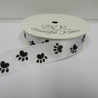 1 roll of 25mm White with Black Paw Prints Satin Ribbon, 25 metres Double Sided