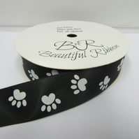 2 metres x 25mm Black with White Paw Prints Satin Ribbon Double Sided