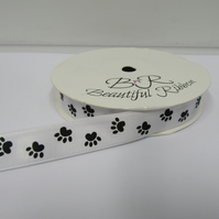 2 metres x 15mm White with Black Paw Prints Satin Ribbon Double Sided