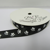 2 metres x 15mm Black with White Paw Prints Satin Ribbon Double Sided