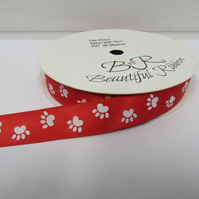 2 metres x 15mm Bright Red with White Paw Prints Satin Ribbon Double Sided