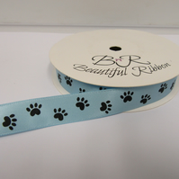 2 metres x 15mm Light Baby Blue with Black Paw Prints Satin Ribbon Double Sided