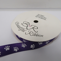 2 metres x 15mm Dark Purple with White Paw Prints Satin Ribbon Double Sided