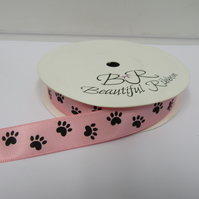 1 roll of 15mm Light Pink - Black Paw Prints Satin Ribbon, 25 metres Double Side