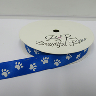 1 roll of 15mm Royal Blue White Paw Prints Satin Ribbon 25 metres Double Sided