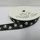 1 roll of 15mm Black with White Paw Prints Satin Ribbon, 25 metres Double Sided