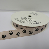 2 metres x 15mm Taupe with Black Paw Prints Satin Ribbon Double Sided