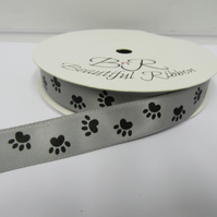 2 metres x 15mm Dark Grey with Black Paw Prints Satin Ribbon Double Sided