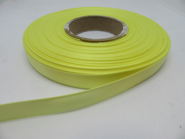 1 roll of 10mm Lemon Light Yellow Satin Ribbon 25 metres Double Sided