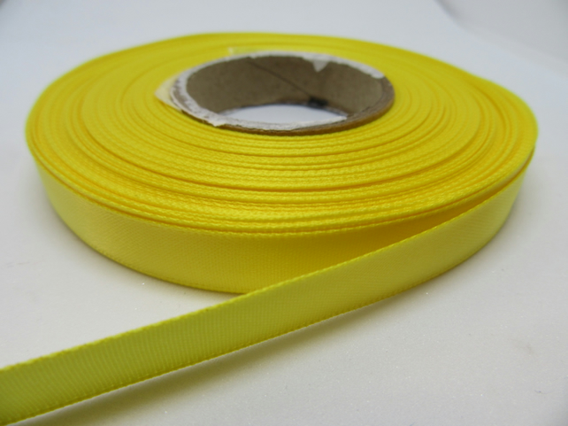 1 roll of 10mm Canary Bright Yellow Satin Ribbon 25 metres Double Sided