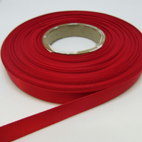 1 roll of 10mm Ruby Dark Red Satin Ribbon 25 metres Double Sided