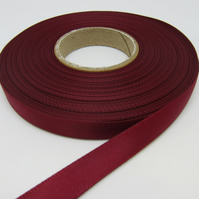 1 roll of 10mm Burgundy Wine Claret Satin Ribbon 25 metres Double Sided
