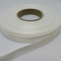 1 roll of 10mm Ivory Satin Ribbon 25 metres Double Sided