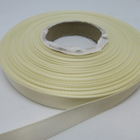 1 roll of 10mm Cream Satin Ribbon 25 metres Double Sided
