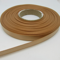1 roll of 10mm Latte Coffee, Light Beige Satin Ribbon 25 metres Double Sided