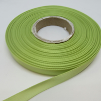 1 roll of 10mm Apple Light Green Satin Ribbon 25 metres Double Sided