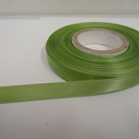 1 roll of 10mm Sage Light Green Satin Ribbon 25 metres Double Sided