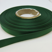 1 roll of 10mm Dark Emerald Green Satin Ribbon 25 metres Double Sided