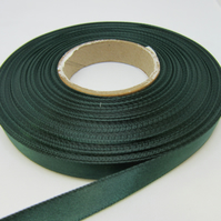 1 roll of 10mm Forest Dark Green Satin Ribbon 25 metres Double Sided