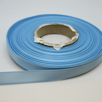 1 roll of 10mm Baby Light Blue Satin Ribbon 25 metres Double Sided