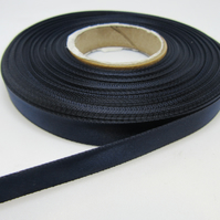 1 roll of 10mm Navy Dark Blue Blue Satin Ribbon 25 metres Double Sided