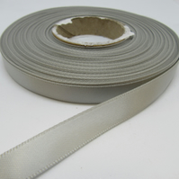 1 roll of 10mm Light Silver Satin Ribbon 25 metres Double Sided