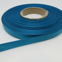 1 roll of 10mm Dark Turquoise Blue Satin Ribbon 25 metres Double Sided