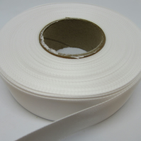 2 metres of 25mm White satin ribbon, double sided
