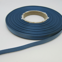 2 metres x 7mm Antique French Blue Satin Ribbon Double Sided