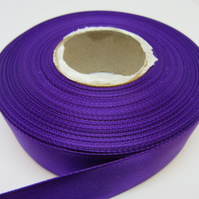 2 metres of 25mm Orchid Bright Purple satin ribbon, double sided