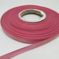 2 metres x 7mm Wild Rose Pink Satin Ribbon Double Sided