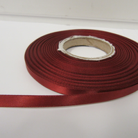 2 metres x 7mm Rust Brown Satin Ribbon Double Sided