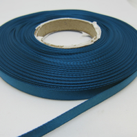 2 metres x 7mm Peacock Blue Ribbon Double Sided