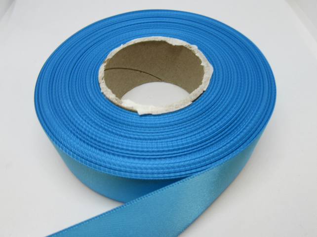 1 roll x 25mm Sky Light Blue Satin Ribbon, 25 metres,