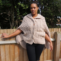 Chunky Shawl Collar Cape