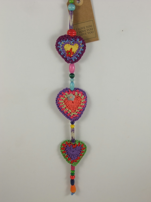 I Love You  I love You I love You Boho Heart Hanger